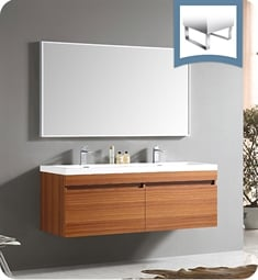 "Fresca FVN8040TK Largo 57"" Teak Modern Bathroom Vanity with Wavy Double Sinks"