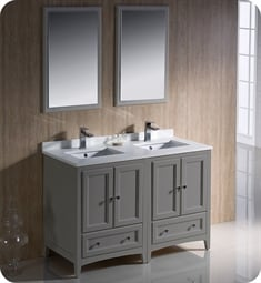 "Fresca FVN20-2424GR Oxford 48"" Gray Traditional Double Sink Bathroom Vanity"