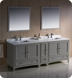 "Fresca FVN20-361236GR Oxford 84"" Gray Traditional Double Sink Bathroom Vanity with Side Cabinet"