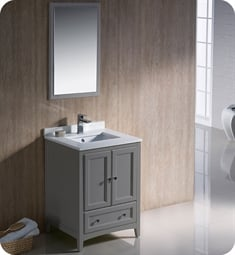 "Fresca FVN2024GR Oxford 24"" Gray Traditional Bathroom Vanity"
