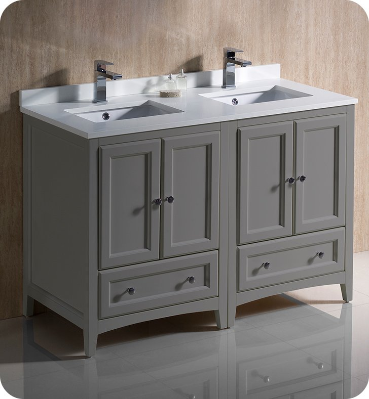 Fresca Fcb20 2424gr Cwh U Oxford 48 Quot Gray Traditional Double Sink Bathroom Cabinets With Top