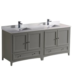 "Fresca FCB20-3636GR-CWH-U Oxford 72"" Gray Traditional Double Sink Bathroom Cabinets with Top & Sinks"