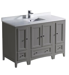 "Fresca FCB20-122412GR-U Oxford 48"" Gray Traditional Bathroom Cabinets with Top & Sink"