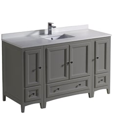 "Fresca FCB20-123012GR-U Oxford 54"" Gray Traditional Bathroom Cabinets with Top & Sink"