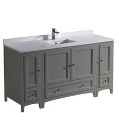 "Fresca FCB20-123612GR-U Oxford 60"" Gray Traditional Bathroom Cabinets with Top & Sink"