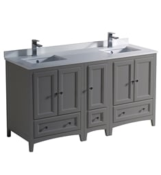 "Fresca FCB20-241224GR-U Oxford 60"" Gray Traditional Double Sink Bathroom Cabinets with Top & Sinks"