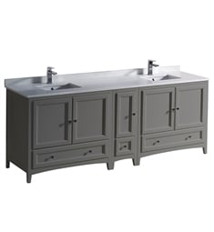 "Fresca FCB20-361236GR-CWH-U Oxford 84"" Gray Traditional Double Sink Bathroom Cabinets with Top & Sinks"