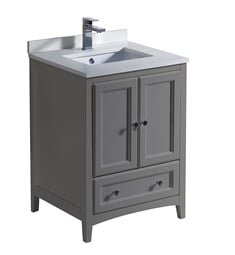 "Fresca FCB2024GR-U Oxford 24"" Gray Traditional Bathroom Cabinet with Top & Sinks"