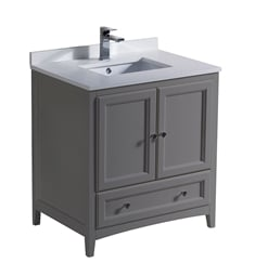 "Fresca FCB2030GR-U Oxford 30"" Gray Traditional Bathroom Cabinet with Top & Sink"
