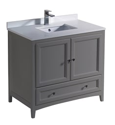 "Fresca FCB2036GR-U Oxford 36"" Gray Traditional Bathroom Cabinet with Top & Sink"