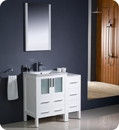 "Fresca FVN62-2412WH-UNS Torino 36"" Modern Bathroom Vanity with Side Cabinet and Integrated Sink in White"