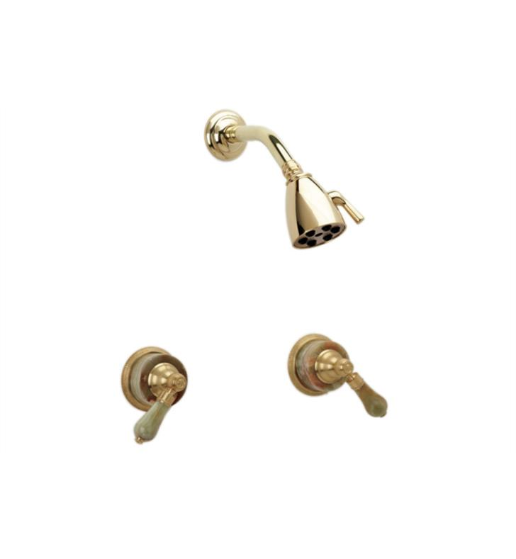 Phylrich K3270-007 Regent Two Handle Shower Set With Finish: Polished Brass Antiqued And Handles: Green Onyx