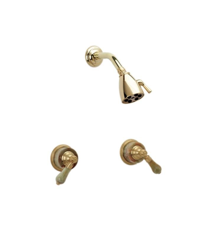 Phylrich K3270-093 Regent Two Handle Shower Set With Finish: Polished Gold with Polished Nickel And Handles: Green Onyx