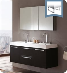 "Fresca FVN8013BW Opulento 54"" Black Modern Double Sink Bathroom Vanity"
