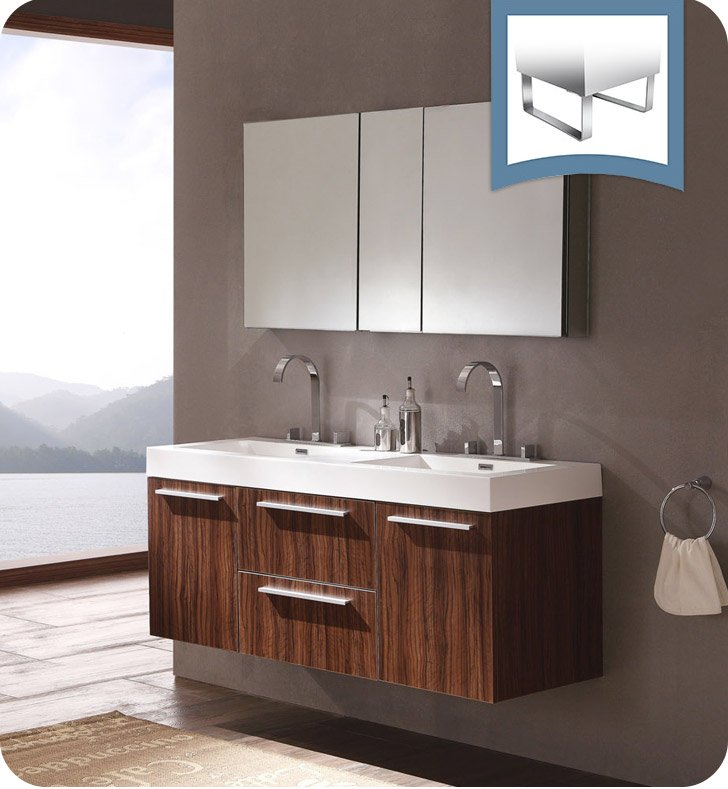"Fresca FVN8013GW Opulento 54"" Walnut Modern Double Sink Bathroom Vanity with Medicine Cabinet"
