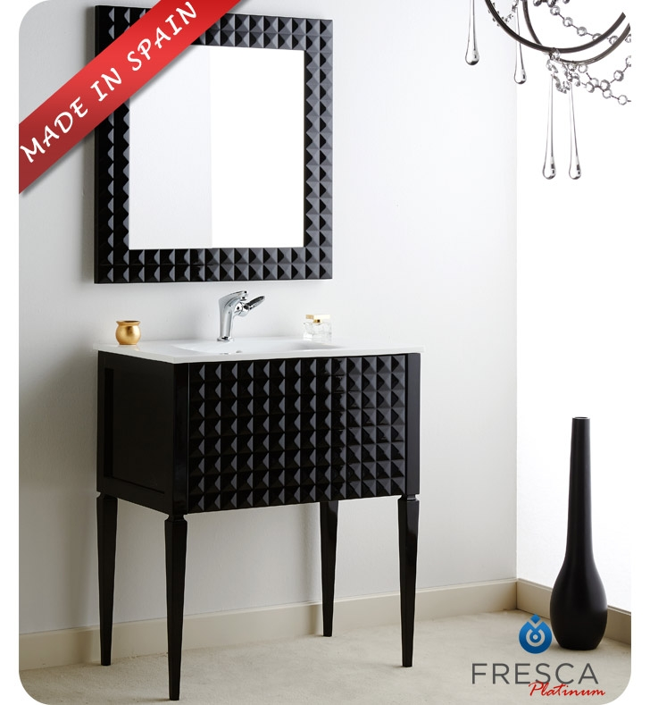"Fresca Platinum FPVN7730BL Diamond 31"" Black Gloss Modern Bathroom Vanity With Faucet: No Faucet"