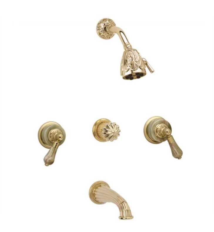 Phylrich K2242-OEB Versailles Thermostatic Tub and Shower Set With Finish: Old English Brass And Handles: Bleu Sodalite