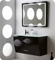 "Fresca Platinum FPVN7640BL Wave 40"" Black Gloss Wall-Mount Modern Bathroom Vanity"