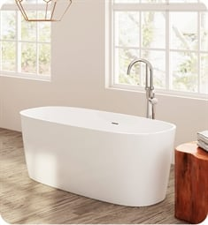 "Perlato PLEPDV5926 Padova 59"" Eco-Lapistone Soaker Tub in White Satin"