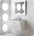 "Fresca Platinum FPVN7630WH Wave 32"" White Gloss Wall-Mount Modern Bathroom Vanity"