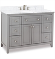 "Hardware Resources VAN102-48-T Chatham Shaker 48"" Freestanding Single Bathroom Vanity Cabinet with Preassembled Vanity Top and Bowl in Grey"