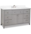"Hardware Resources VAN102-60-T Chatham Shaker 60"" Freestanding Single Bathroom Vanity Cabinet with Preassembled Vanity Top and Bowl in Grey"